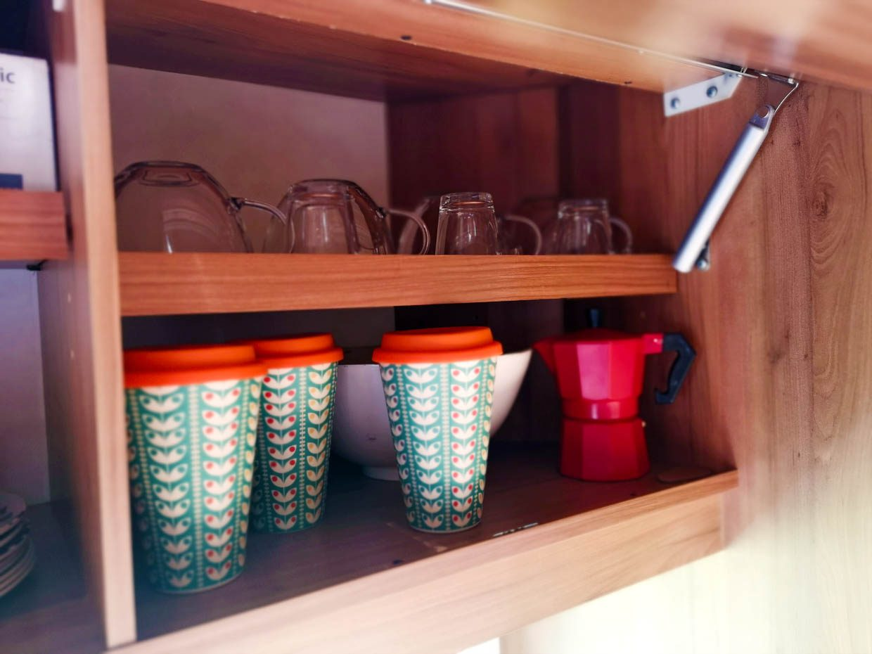 Bruni closet with cups